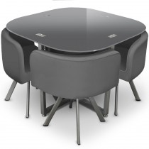 "Ensemble Table de Repas & 4 Chaises Design ""Chest"" Gris"